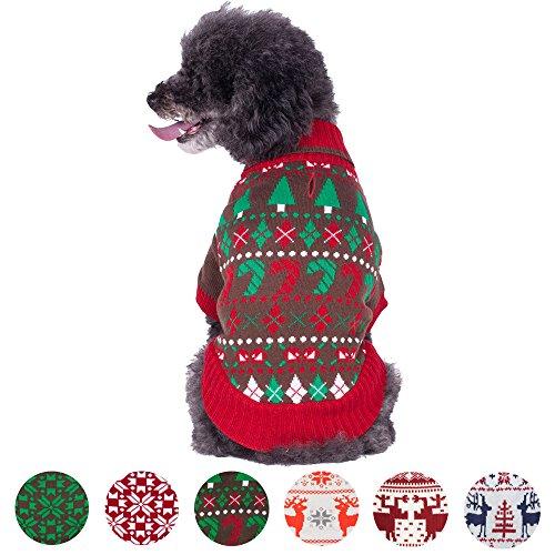 [Blueberry Pet 6 Patterns Ugly Christmas Santa Claus Holiday Season Shawl Collar Dog Sweater, Back Length 10