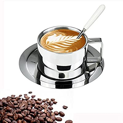 Insulated Coffee Cup Set - Stainless Steel Double Walled Espresso Cups Latte Cappuccino Tea Cup with Saucer and Spoon 200ml/6.8 oz