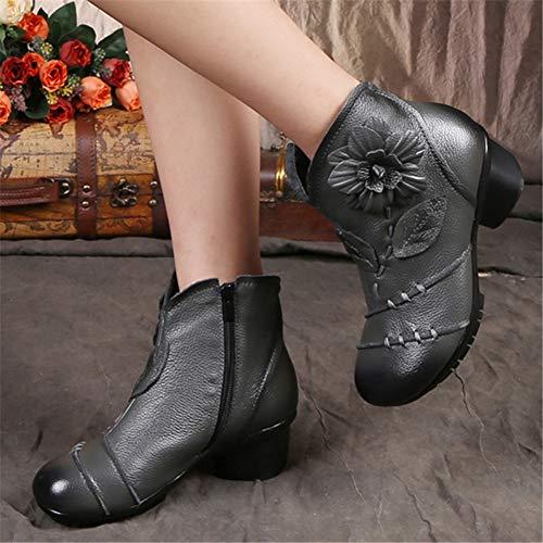 scarpe zeppa donna All'interno Inverno Autunno blu Cow Stivaletti da con in Zipper vintage donna Block Print Heels pelle da Flower ZnXTUq