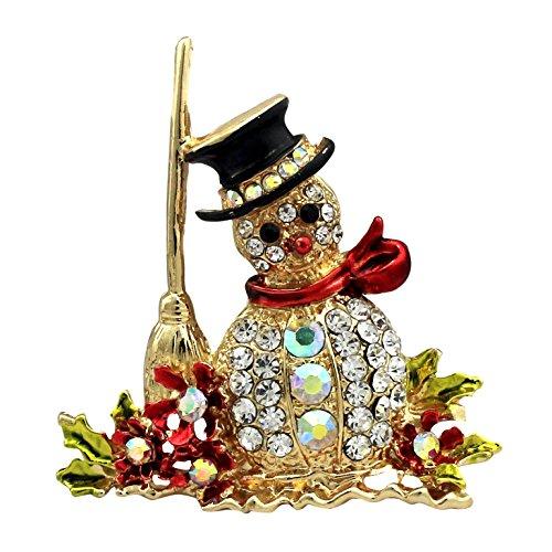 SELOVO Gold Tone Snowman Austrian Crystal Brooch Pin