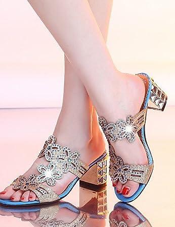 ShangYi Women's Shoes Heel Heels / Peep Toe Sandals / Heels / Clogs & Mules Outdoor / Dress / Casual Pink / Royal Blue / Navy , royal blue-us6 / eu36 / uk4 / cn36 , royal blue-us6 / eu36 / uk4 / cn36
