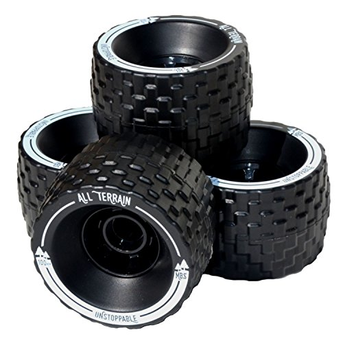 MBS 13401 - Black All-Terrain Longboard Wheels - 100mm X 65mm - Black (Best Skateboard Wheels For Rough Roads)