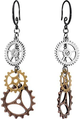 Body Candy Handcrafted Steampunk Sprockets and Gears Dangle Earrings