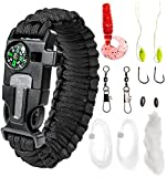 "Paracord Bracelet Emergency Kit 17 pcs Survival Gear by A2S - Ultimate Survival Series includes 12 pcs Fishing Gear & Baits - Emergency Food Preparedness for all (Black, Large 9.5"")"