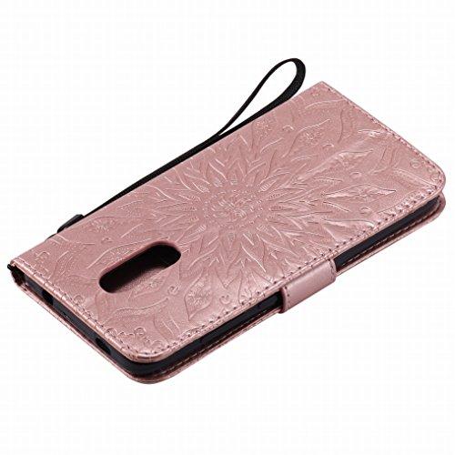 LEMORRY Xiaomi Redmi Note 4X Funda Estuches Pluma Repujado Cuero Flip Billetera Bolsa Piel Slim Bumper Protector Magnética Cierre TPU Silicona Carcasa Tapa para Xiaomi Redmi Note 4X, Flor (Rose Gold)