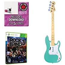 Mad Catz Mad Catz Rock Band 3 Bass Bundle - Includes: Red Hot Chili Peppers Bonus Tracks, Full Game, and Fender Precision Bass Guitar Controller Sea Foam Green for Xbox 360