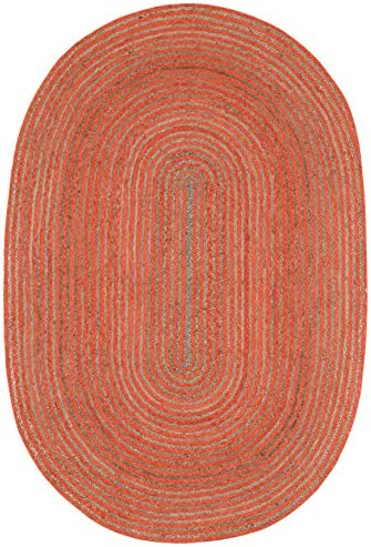 Earth First Natural Hemp Cotton Racetrack Oval Rug, 5-Feet by 8-Feet, Orange
