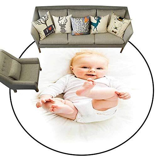 Doormat Kitchen Bathroom,Baby,Beautiful Baby with Her Feet Up Caucasian Infant Lying Down Adorable Photo Joyful Smile,Tan Blue,Floor Rug Shoe Scraper Door Mat Rug5.2 feet