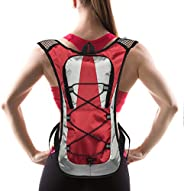 Hydration Pack with 1.5 L Water Backpack Bladder. Adjustable Straps Fits Men, Women or Kids. Ideal for Running