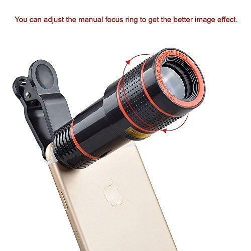 Passion store Smartphone Camera Lens 12X Telescope,Camera Phone Lens with Tripod, Camera Lens Kit +Fish Eye Lens+ Wide Angle Lens+ Macro Lens for iPhone X 8 7 6 Plus and Android by Passion Store (Image #3)