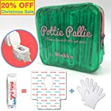 Pottie Pallie Premium Quality Disposable Toilet Seat Covers (w Bonus Zip Bag+Gloves) Individually Wrapped X Large & Thick Non-Slip Waterproof Hygiene Potty Shields (10pcs) by Ninkko: more info