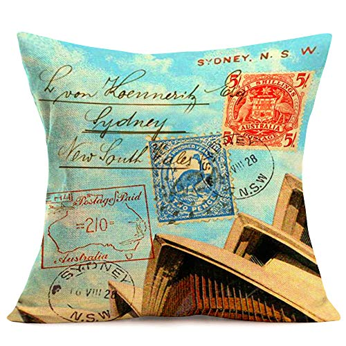 """Fukeen Vintage Cotton Linen Throw Pillow Covers SydneyOperaHouse Stamp Letter Pillow Cases Decorative TravelCountry Australia Decorative Cushion Cover 18""""x18"""" Home Office Decor"""
