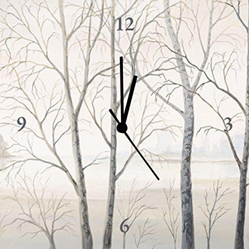Artland Analoge Wand-Funk-oder Quarz-Uhr Digital-Druck Leinwand auf Holz-Rahmen gespannt mit Motiv Andres Seeufer am Wald II Landschaften Gewässer See Malerei Creme A1EP