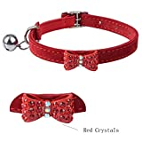 EXPAWLORER Red Velvet Bowtie Crystal Fashion Puppy Cat Collars Safety Elastic Bell 8-10.5'