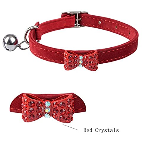 EXPAWLORER Red Velvet Bowtie Crystal Fashion Puppy Cat Collars Safety Elastic Bell 8-10.5