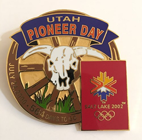 (Utah Pioneer Day Cow Skull 2002 Salt Lake City Winter Olympics Countdown Pin LE 398/1000)