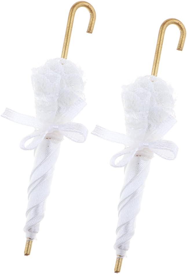 Baoblaze 1//12 Dollhouse Fashion Cute Lace Umbrella with Metal Handle Parasol Closed 2pcs White
