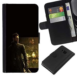 DeusEX Cyborg - la tarjeta de Crédito Slots PU Funda de cuero Monedero caso cubierta de piel Para HTC One M9