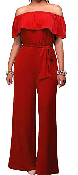 7bea41b15196 Image Unavailable. Image not available for. Color  UUYUK-Women Fashion Off  Shoulder Ruffle Tie Waist Wide Leg Jumpsuit ...