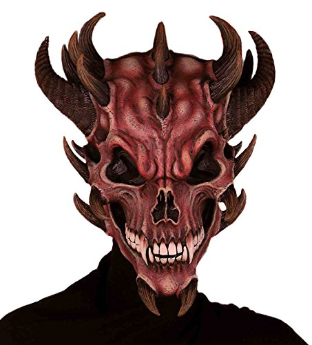 Forum Novelties Men's Devil Skull Latex Mask, Red, One Size