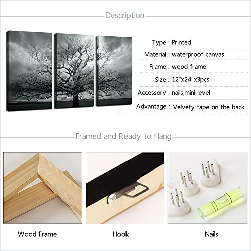 sechars Winter Large Tree Photography Print,Abstract Canvas Artwork,Stretched and Framed,Landscape Canvas Wall Art,Each Panel 12x24inch Wall Picture Ready to Hang Sea Charm Trading Co Ltd YC1625