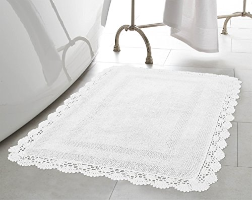 (Laura Ashley Crochet Cotton 17x24 in. Bath Rug, White)