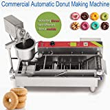 Automatic Donut Making Machine ixaer Commercial Electric Automatic Doughnut Donut Machine Donut Maker Auto Donuts/Molding/Frying/Turning/Collecting Machine (Can Making 3 Sizes Donut)
