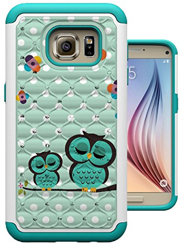 S7 Case, Galaxy S7 Case, MagicSky [Shock Absorption] Studded Rhinestone Bling Hybrid Dual Layer Armor Defender Protective Case Cover for Samsung Galaxy S7 (Sleeping Owl) (Owl Phone Case For Samsung Galaxy)