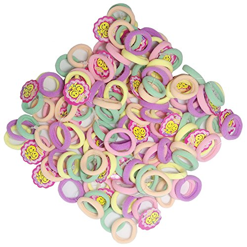 Hair Bands Small G-MEE 1.1 Inch 100 CT Cute Colorful Seamless Hair Accessories Hair Ties for Toddler Girl (Light Color)