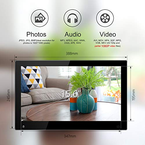 15.6 Inch Large Digital Picture Frame with Hu Motion Sensor LCD Advertising Player with 1080P LCD AV HDMI Input VESA Full IPS Remote by SSA (Image #4)