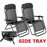 Set of Two Zero Gravity Reclining Sun Loungers In Black   Garden Patio Foldable Reclining Chairs   Heavy Duty Design with Mobile and Cup Holding Tray