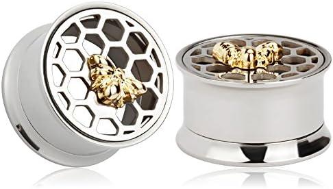 KUBOOZ Bee Honeycomb Tunnels Stretcher Piercings product image