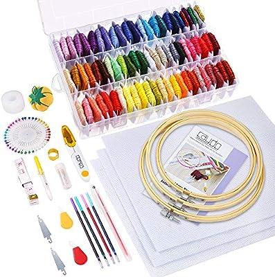 Caydo 164 piezas Kit de bordado con instrucciones, 72 colores hilo de bordado con caja organizadora,