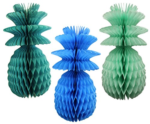 Large Solid Colored 13 Inch Honeycomb Pineapple Party Decoration Kit (Sea Breeze - Turquoise, Teal, Mint)