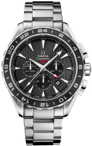 Aqua Terra Stainless Steel Watch - Omega Aqua Terra Chronograph GMT Grey Dial Stainless Steel Mens Watch 23110445206001