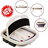 Foot Spa Massager-Portable Foot Bath Tub New 2019 Version w/Electric Heating & Bubble Wave - All in One Pedicure Machine Set for Relaxation & Red Light Therapy
