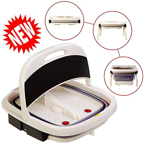Heated Foot SPA Bath Tub - Collapsible Pedicure Jacuzzi Massager with Electric Heating | Bubble Wave | Red Light Therapy - 3 in 1 Soak Footbath Set for Feet Relaxation and Stress Relief ()