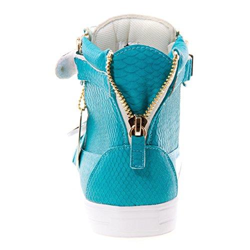 Hoppe J75 Menns Zion Rund Tå Rhinestone Stropp Blonder-up High-top Sneaker Blå Gigantisk Python