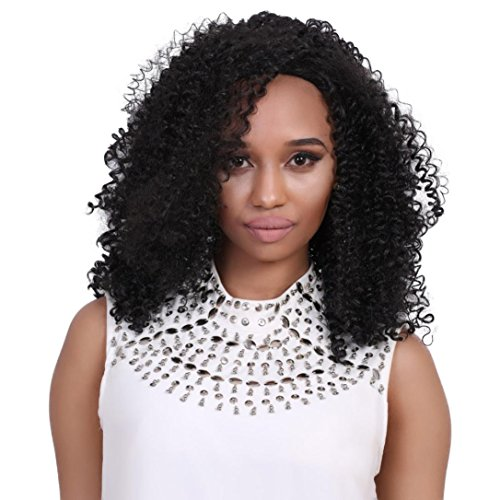 LOUSHI Deep Curly Heat Resistant Lace Front Synthetic Hair Wigs For Fashion Women - Black Jet Nude