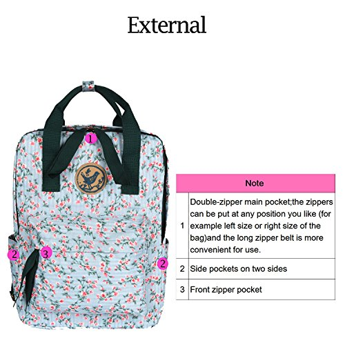 Micoop Waterproof Floral Backpack Handbag Travel School Bag for Girls and Women (Light Green Pink Floral L) by Micoop (Image #4)