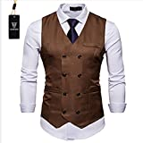 Cyparissus Mens Vest Waistcoat Men's Suit Dress Vest For Men or Tuxedo Vest (XXL, Coffee)