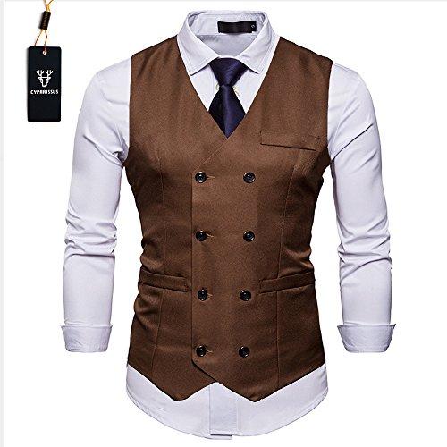 Cyparissus Mens Vest Waistcoat Men's Suit Dress Vest For Men or Tuxedo Vest (XL,Coffee) by Cyparissus