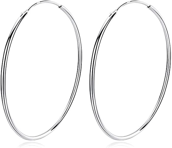 925 Stamped Silver Sparkly Round 45mm Diameter Hoops Earrings Jewellery Gift