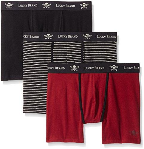 6de08a0cb498 Lucky Brand Men's Black Label 3-Pack Stretch Boxer Brief, Jet Black/Jet  Black Stripe/Tibetan Red, Small - Buy Online in Oman. | Apparel Products in  Oman ...