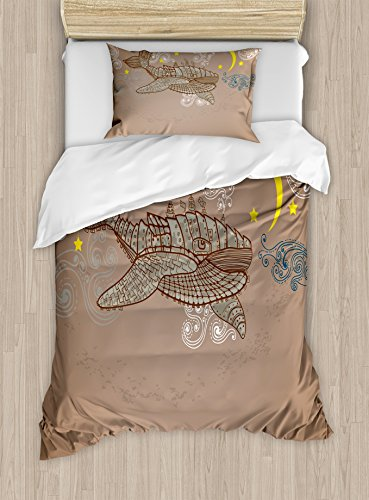 Ambesonne Whale Duvet Cover Set Twin Size, Steampunk Whale Flying in the Air with Moons and Stars Artistic Hand Drawing, Decorative 2 Piece Bedding Set with 1 Pillow Sham, Brown and White