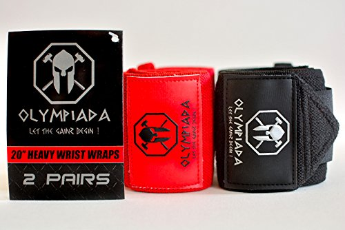 20'' Olympiada Wrist Wraps - 2018 Design (Extra Stiff -4 Wraps/2 Pairs) - Specially Designed for Powerlifting, Bodybuilding & Aesthetics! Highest Quality & Strongest Wraps on Amazon + Swag by OlympiadaGear.com