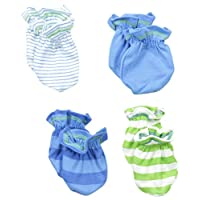 Gerber Baby-Boys Newborn 4 Pack Mittens - Stripes, Blue, 0-3 Months