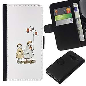 KLONGSHOP // Tirón de la caja Cartera de cuero con ranuras para tarjetas - Blanca Pastel Mar Amor Pareja - Samsung Galaxy Core Prime //