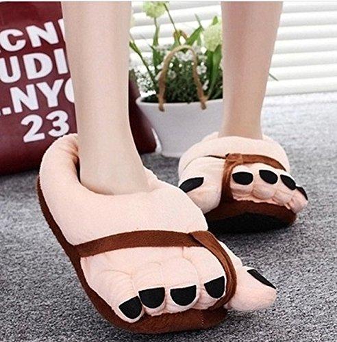 philna12Creative Funny Winter Weich Plüsch Fuß große Füße Hausschuhe Erwachsene Schuhe (braun)