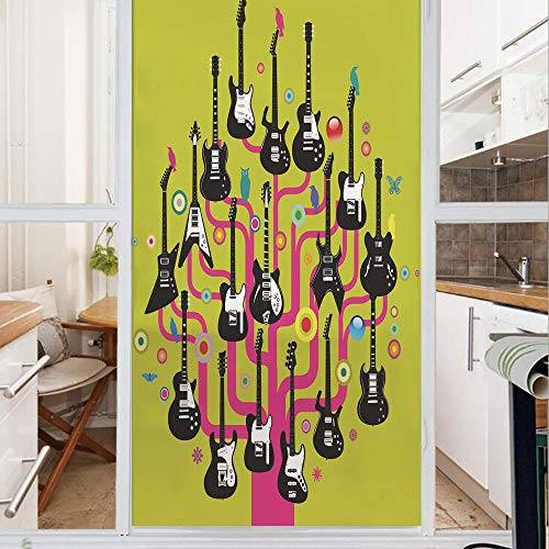 Decorative Window Film,No Glue Frosted Privacy Film,Stained Glass Door Film,Guitars for Rock Stars Above a Tree Plant Modern Geometric Design Print,for Home & Office,23.6In. by 59In Hot Pink Apple Gre